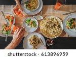 family fresh dinner with... | Shutterstock . vector #613896959