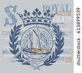 sailing boat royal emblem | Shutterstock .eps vector #613899539