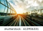 front view of train moving... | Shutterstock . vector #613906331