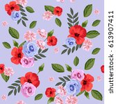 seamless pattern with beautiful ... | Shutterstock .eps vector #613907411
