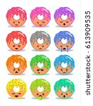 sweet donut with glaze set of...   Shutterstock .eps vector #613909535