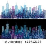 white windows on hand drawn... | Shutterstock .eps vector #613912139