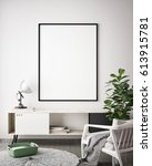 mock up poster frame in hipster ... | Shutterstock . vector #613915781