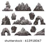 cartoon 3d rock and stone set... | Shutterstock .eps vector #613918067