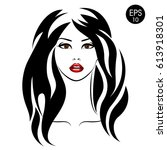 stock woman with black hair and ... | Shutterstock .eps vector #613918301