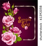 vector pink rose and pearls... | Shutterstock .eps vector #61392058