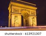 arc de triumph in paris  the... | Shutterstock . vector #613921307