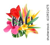 "floral collage "" bali"" isolated ... 