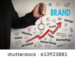 brand business concept. red... | Shutterstock . vector #613923881