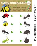 shadow matching game of insect... | Shutterstock .eps vector #613934969