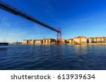 view of hanging bridge and getxo | Shutterstock . vector #613939634