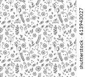 seamless pattern  blue hand... | Shutterstock . vector #613943027