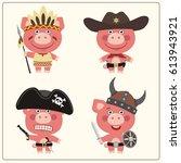 funny pig in costume of viking  ... | Shutterstock .eps vector #613943921