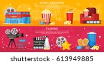 colorful cinema horizontal... | Shutterstock .eps vector #613949885