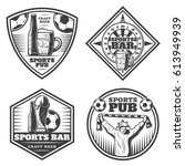 vintage sport bar emblems set... | Shutterstock .eps vector #613949939