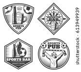 vintage sport bar emblems set... | Shutterstock .eps vector #613949939