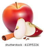 vector. ripe red apples with...