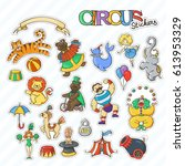 circus cartoon stickers... | Shutterstock .eps vector #613953329