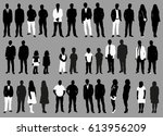 silhouette of people black and... | Shutterstock .eps vector #613956209