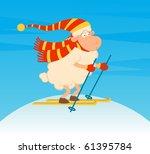 cartoon funny skier sheep.... | Shutterstock .eps vector #61395784