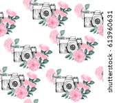 photo pattern with white... | Shutterstock .eps vector #613960631