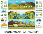 colorful traveling camping... | Shutterstock .eps vector #613960634