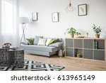 living room with openwork metal ... | Shutterstock . vector #613965149