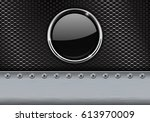 metal perforated background... | Shutterstock . vector #613970009