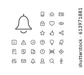 bell icon in set on the white... | Shutterstock .eps vector #613971881
