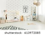scandi style  white child room... | Shutterstock . vector #613972085