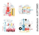music logo. music festival ... | Shutterstock .eps vector #613973885