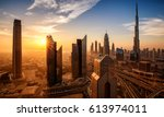 dubai at sunrise | Shutterstock . vector #613974011