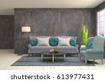 interior living room. 3d... | Shutterstock . vector #613977431