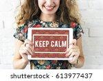 keep calm mindfulness peaceful... | Shutterstock . vector #613977437