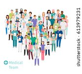healthcare medical team in... | Shutterstock .eps vector #613979231