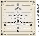 vintage set of vector... | Shutterstock .eps vector #613982609