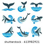 wild whale in sea waves and... | Shutterstock .eps vector #613982921