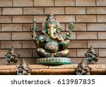 closed up a statue of ganesha... | Shutterstock . vector #613987835