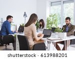 group of businesspeople working ... | Shutterstock . vector #613988201