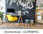 cozy place to work in modern... | Shutterstock . vector #613988951