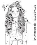 cute girl in a shirt. the birds ... | Shutterstock .eps vector #613989131