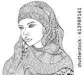 arabic muslim woman. hijab.... | Shutterstock .eps vector #613989161