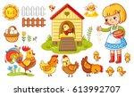 farm chicken scene. vector set  ... | Shutterstock .eps vector #613992707
