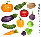 set of vegetables labels with... | Shutterstock .eps vector #613993964