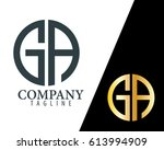 initial letter ga with linked... | Shutterstock .eps vector #613994909