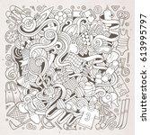 cartoon cute doodles hand drawn ...   Shutterstock .eps vector #613995797
