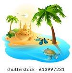 tropical island paradise beach. ... | Shutterstock .eps vector #613997231