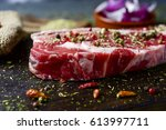 closeup of a raw strip steak...