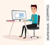 business man working with a... | Shutterstock .eps vector #613999931