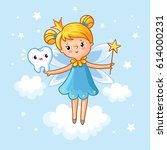 tooth fairy. lovely fairy with... | Shutterstock .eps vector #614000231